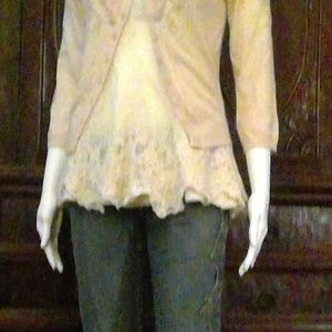 Lovely Guinevere Pink and Cream Soft sweater small